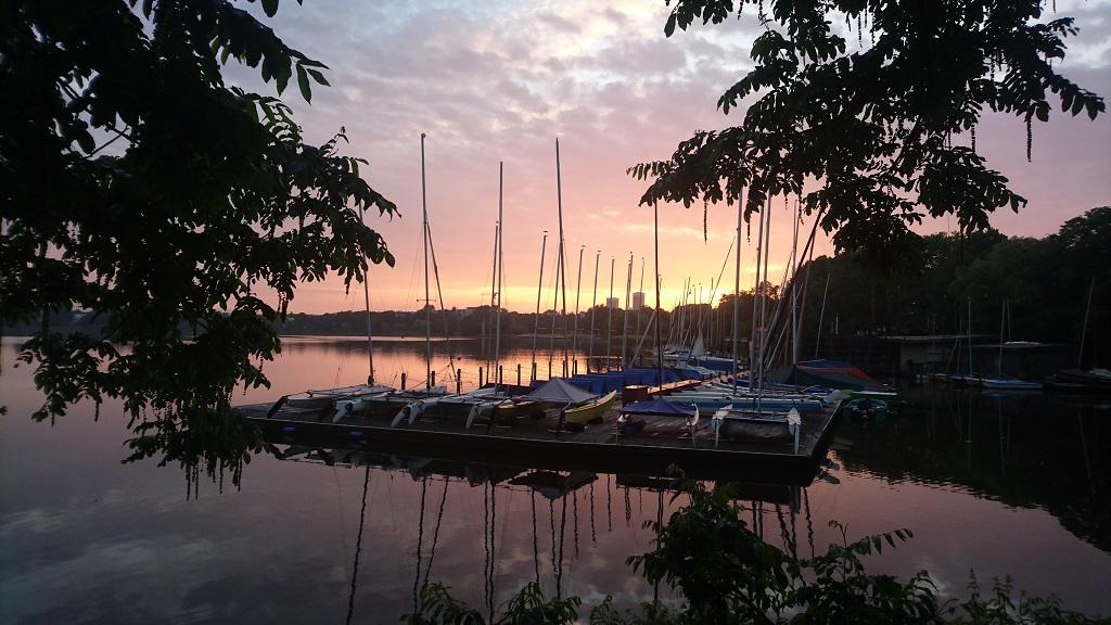 Sonnenaufgang, Alster Hamburg