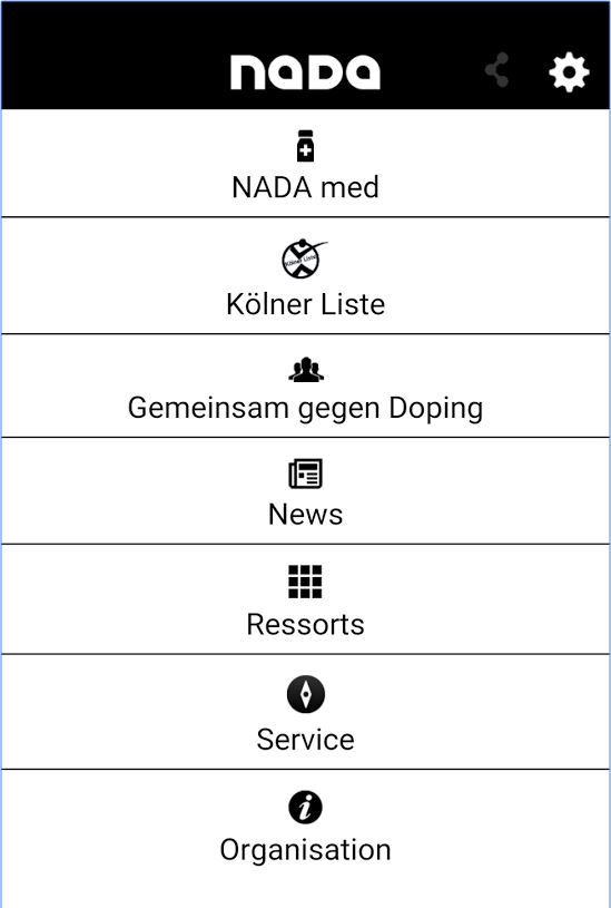 Startbildschirm NADA-App (Android-Version